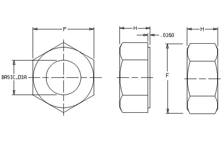 SA193 B16 Hex Nuts Dimensions
