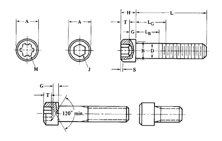 Grade B16 Socket Head Cap Screw Dimensions