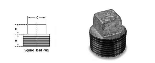 Square Head Plug Dimensions