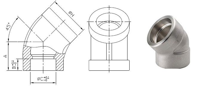 Class 6000 Socket Weld 45 Degree Elbow Dimensions