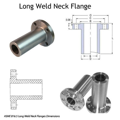 ASME B16.5 Long Weld Neck Flanges Dimensions