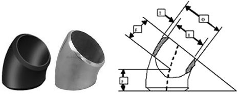 Short Radius 45 Degree Elbow Dimensions
