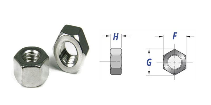 Dimensions of Stainless Steel Nuts
