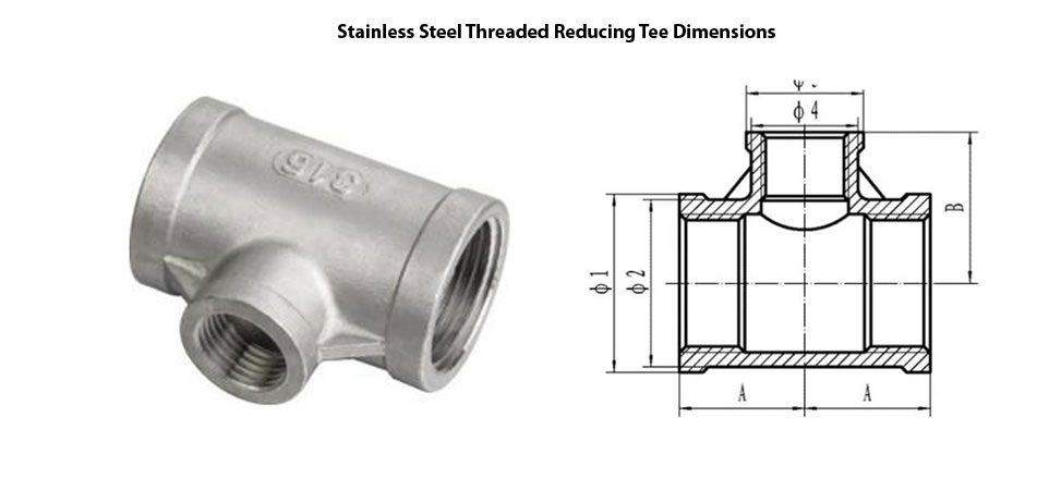 Stainless Steel Threaded Reducing Tee Dimensions